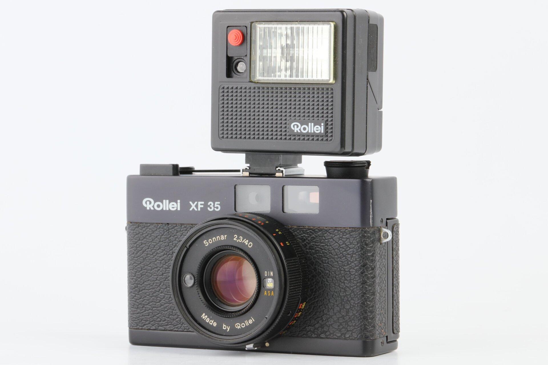 Rollei XF35 Analoge Kompaktkamera + Rollei 100 XLC Blitz