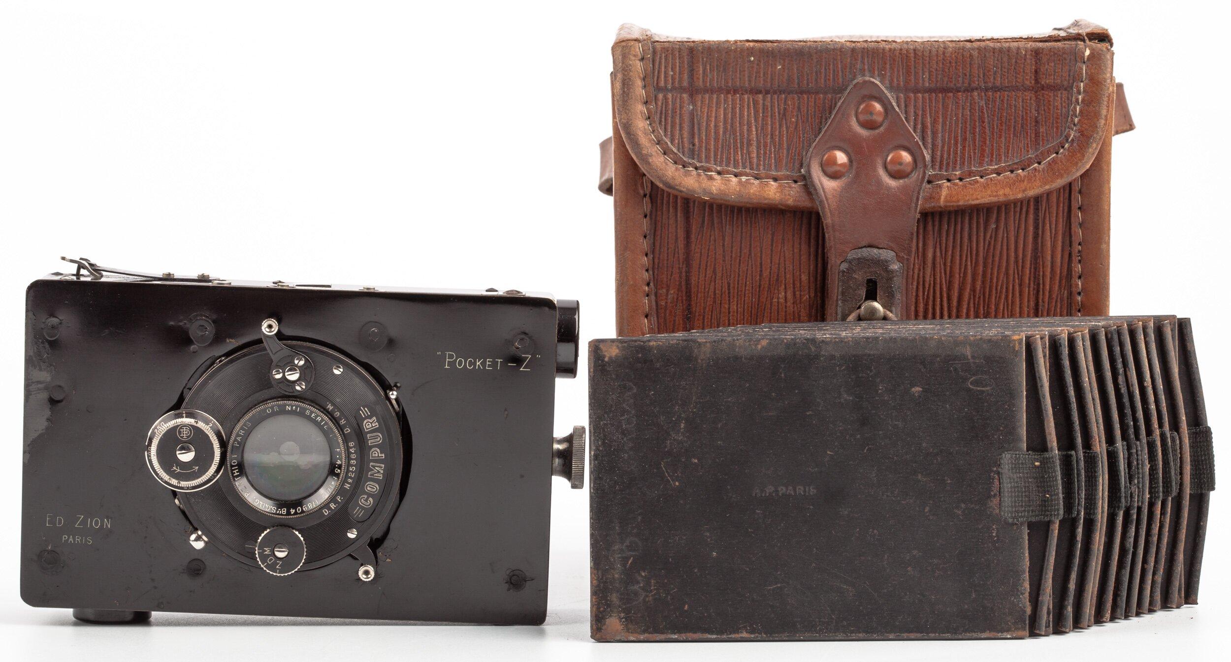 """ED ZION Pocket-Z 6,5x9cm mit 100mm 4,5 Berthiot Paris Flor No. 1 Serie B""""S.G.D.G."""