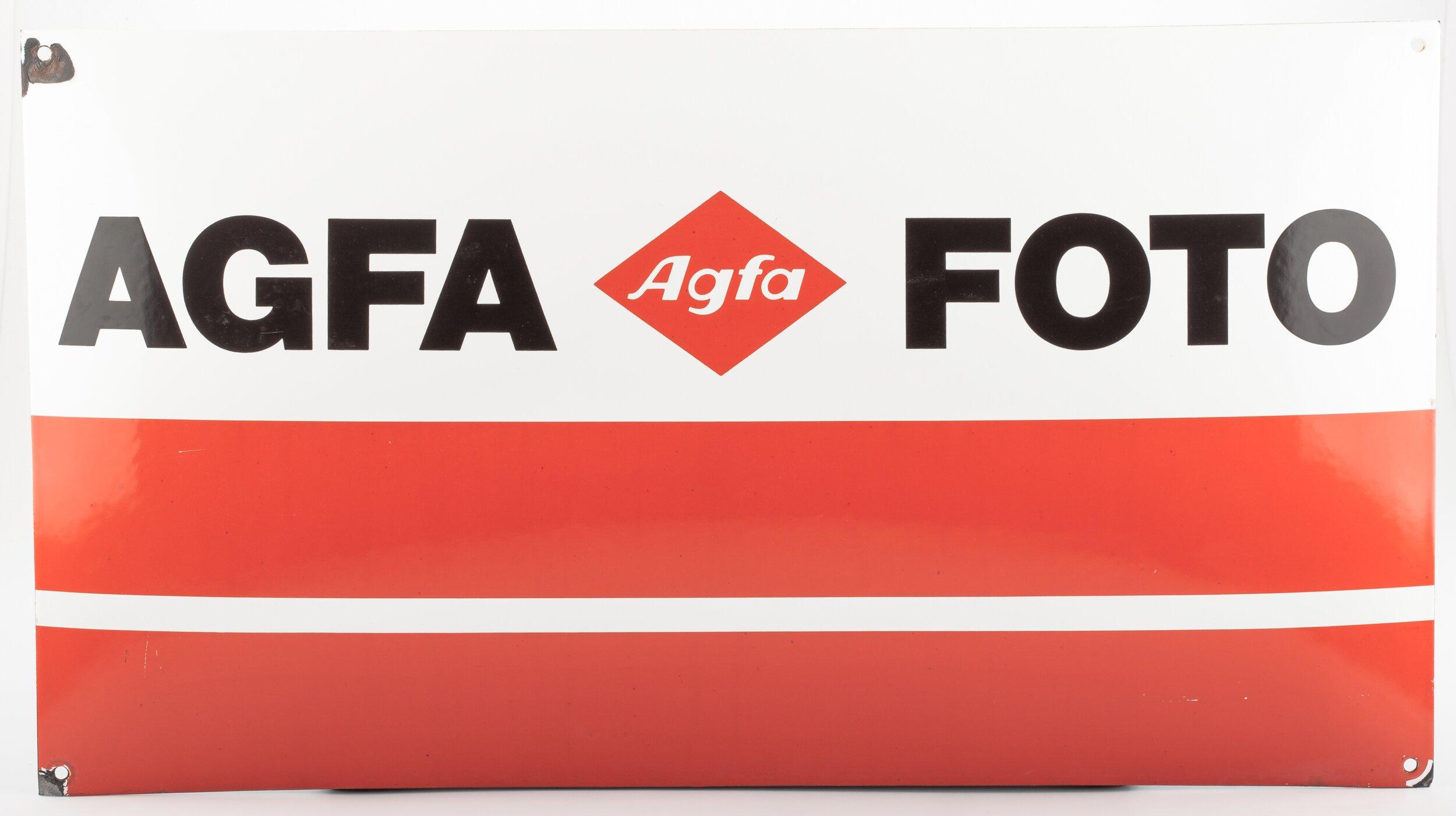 Agfa Werbeschild 60x33cm Blech/Email
