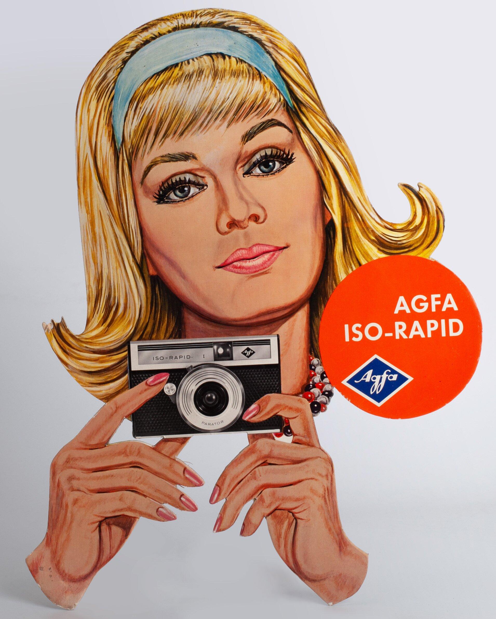 Agfa Iso-Rapid Werbung Werbeschild mit Frau 34x43cm