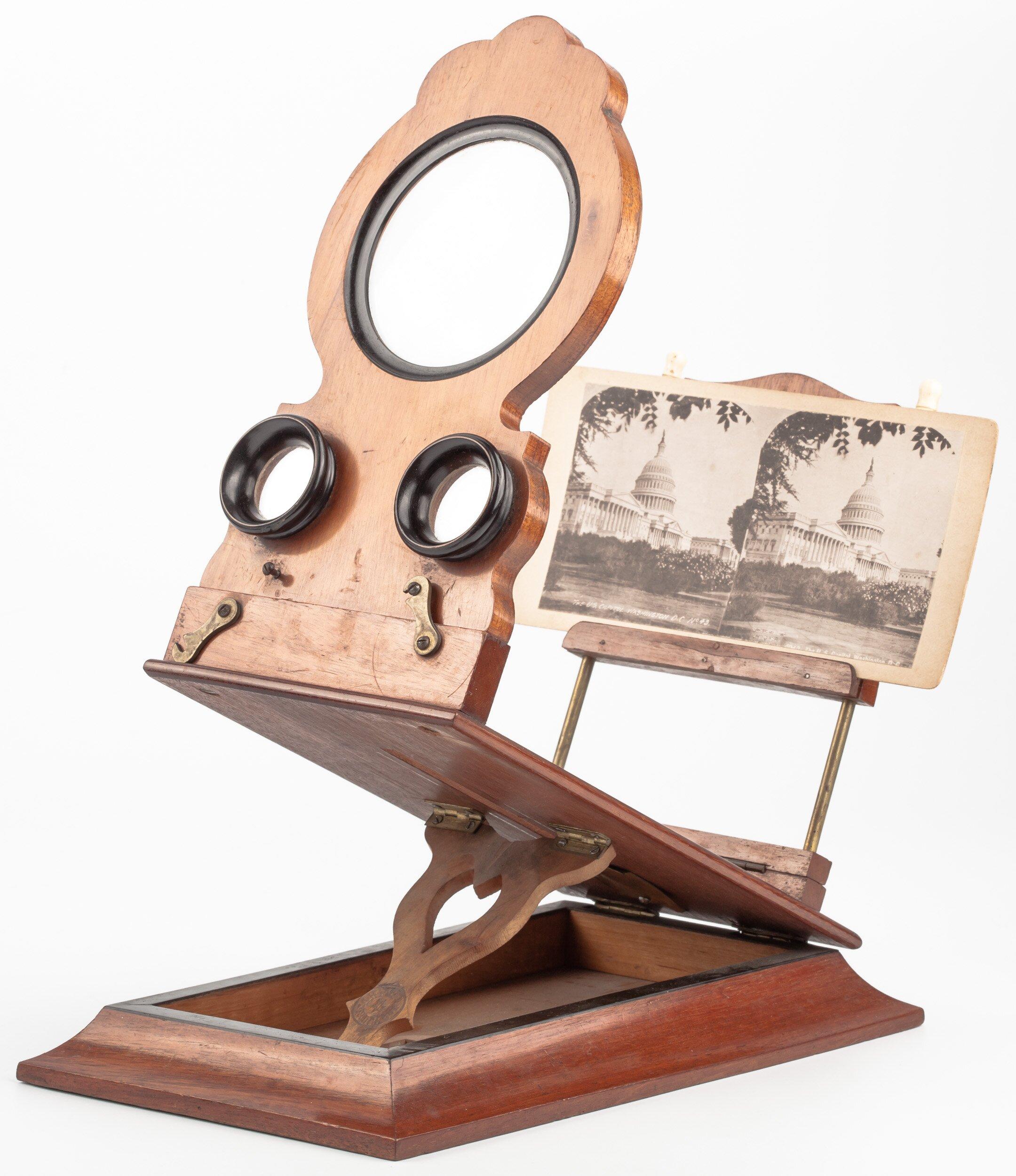 Stereobetrachter, Stereoskop für Glas- und Papierstereobilder