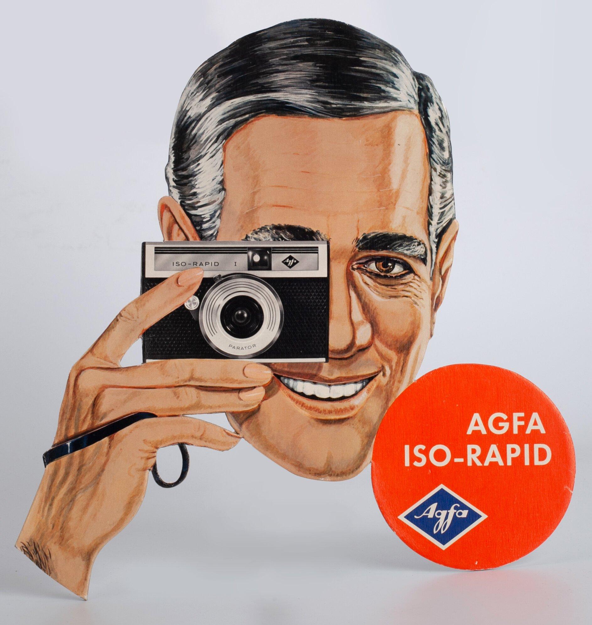 Agfa Iso-Rapid Werbung Werbeschild mit Mann 29,5x36cm