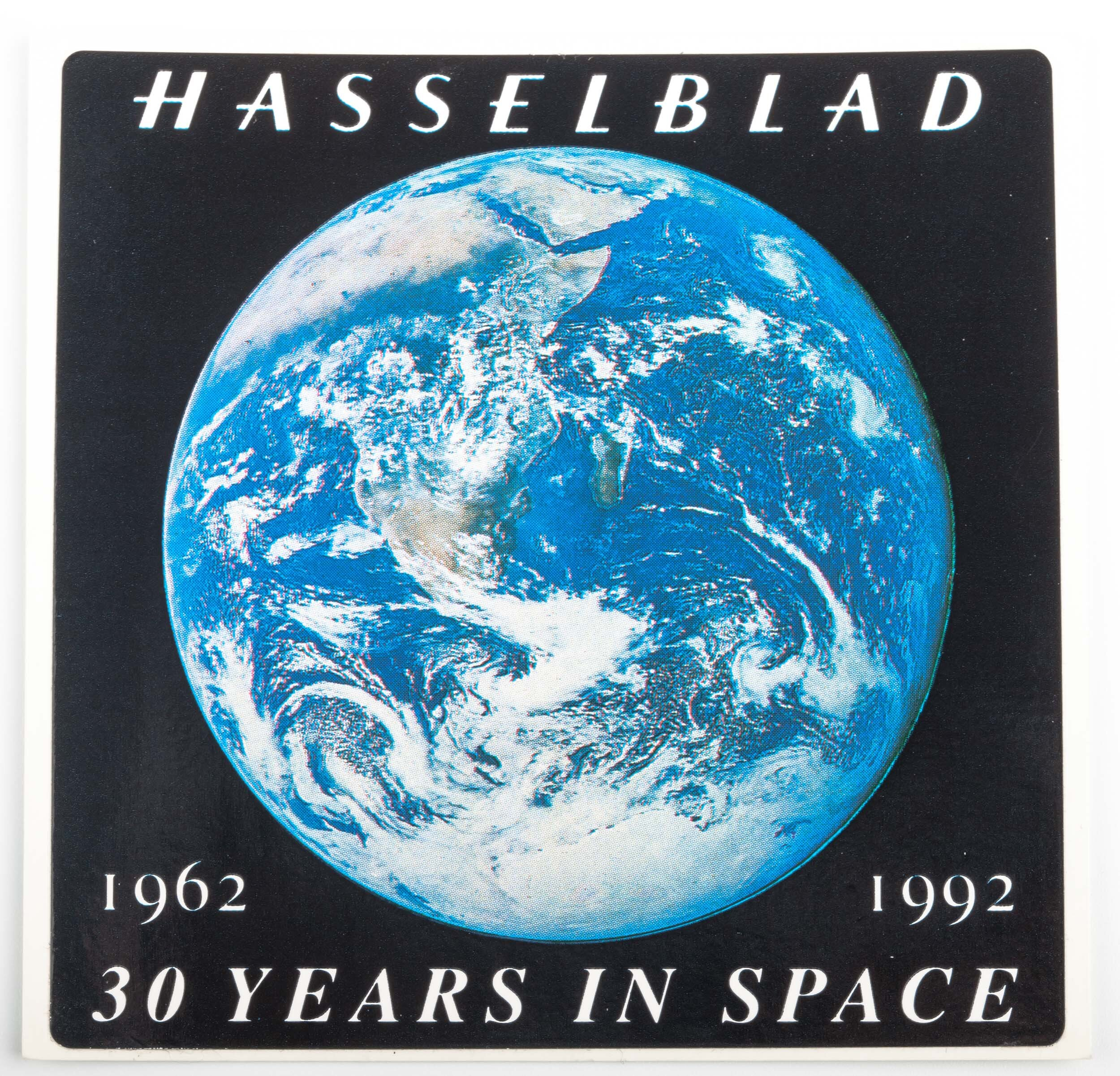 """Hasselblad Sticker """"30 Years in space 1962-1992"""""""