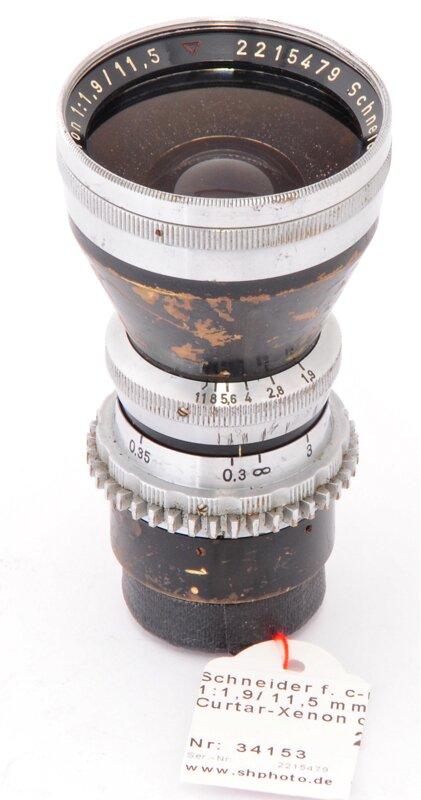 Schneider f. c-mount 1:1,9/11,5 mm Curtar-Xenon c-mount