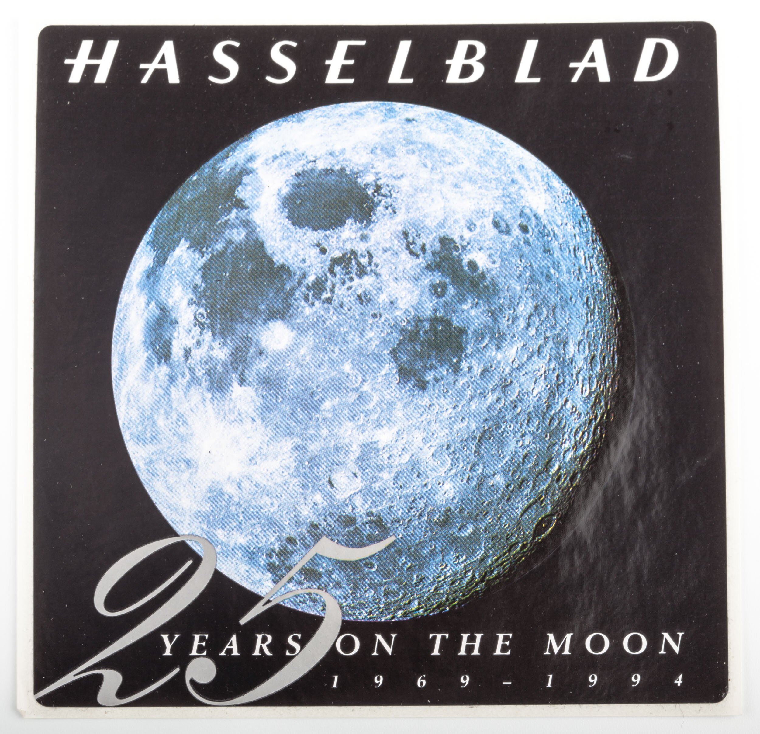 """Hasselblad Sticker """"25 Years on the moon 1969-1994"""""""