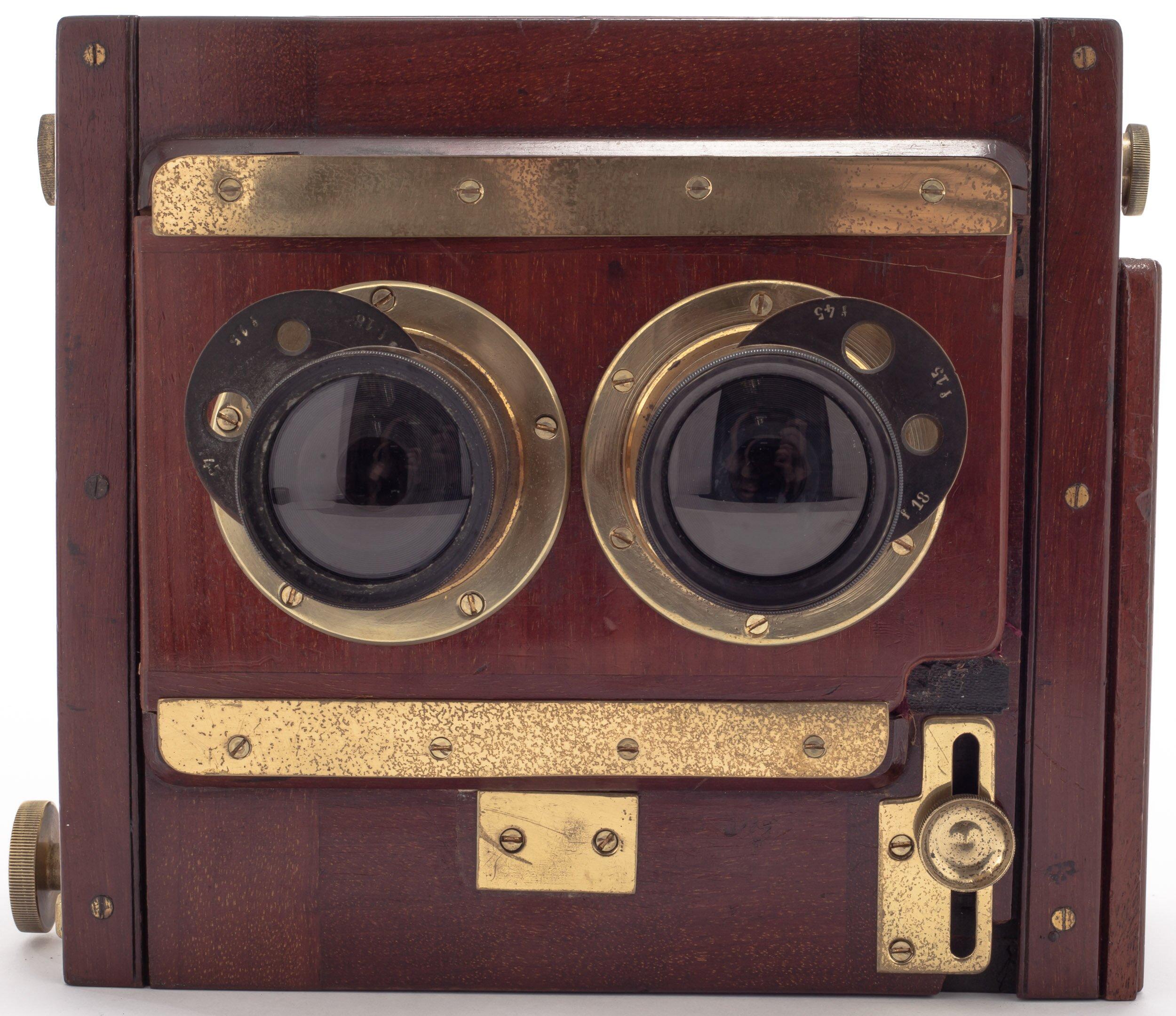 Sands & Hunter, London Exhibition 13x18 Mahagoni Holzstereokamera