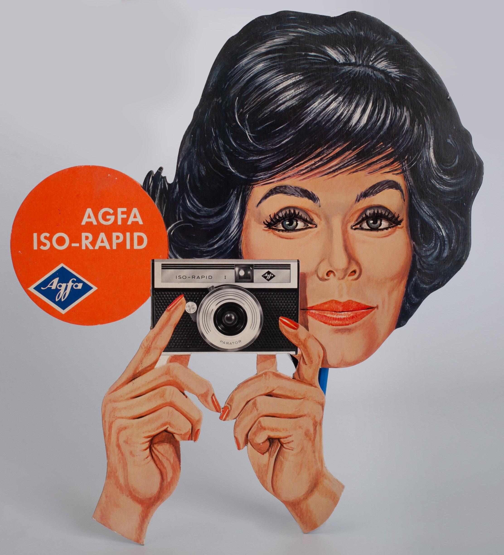Agfa Iso-Rapid Werbung Werbeschild mit Frau 35x39cm