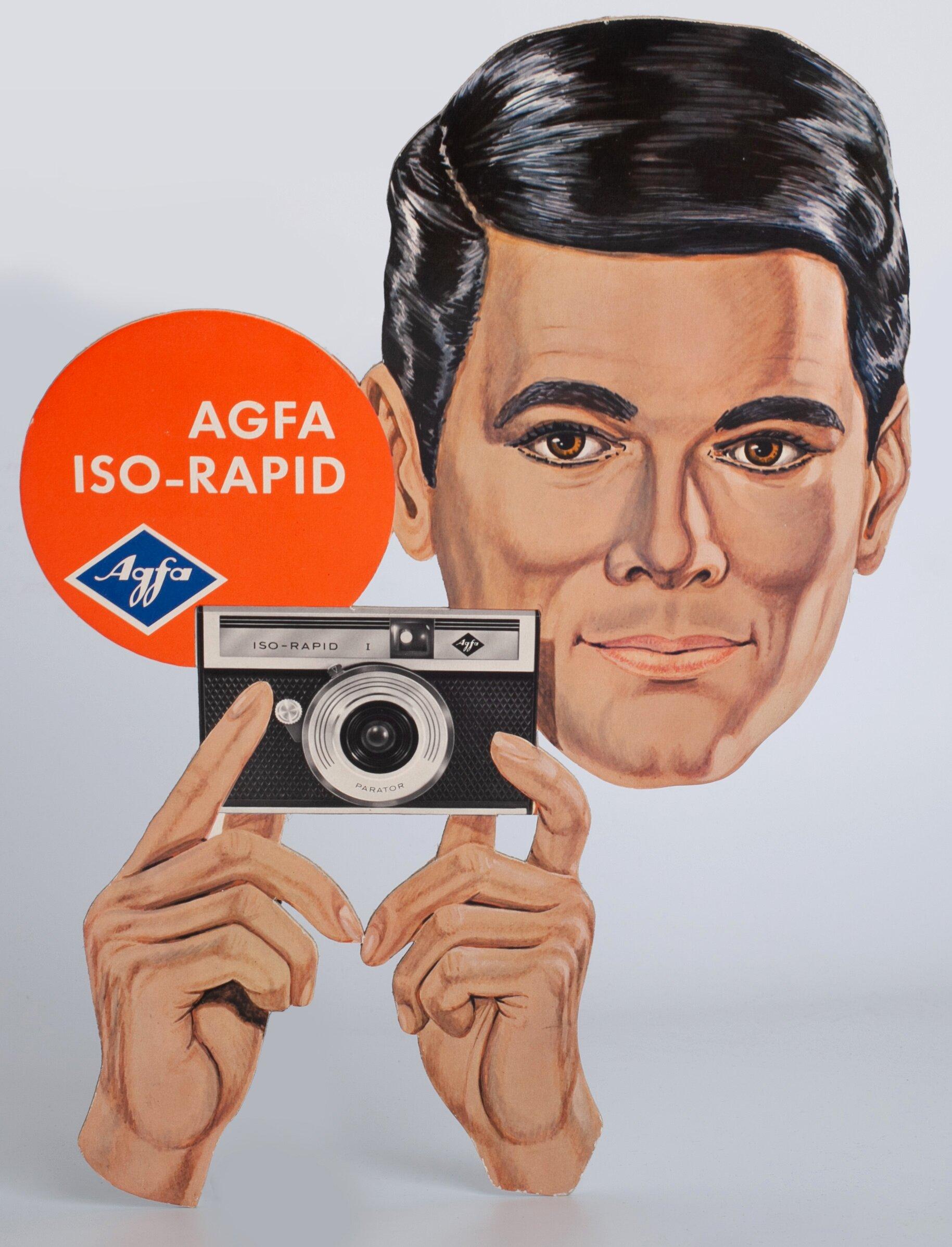 Agfa Iso-Rapid Werbung Werbeschild mit Mann 28x39cm