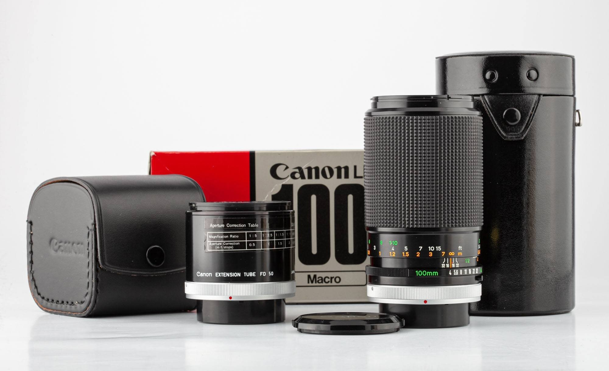 Canon FD 100mm 4,0 Makro+Canon Extension Tube FD 50 Neuwertig OVP