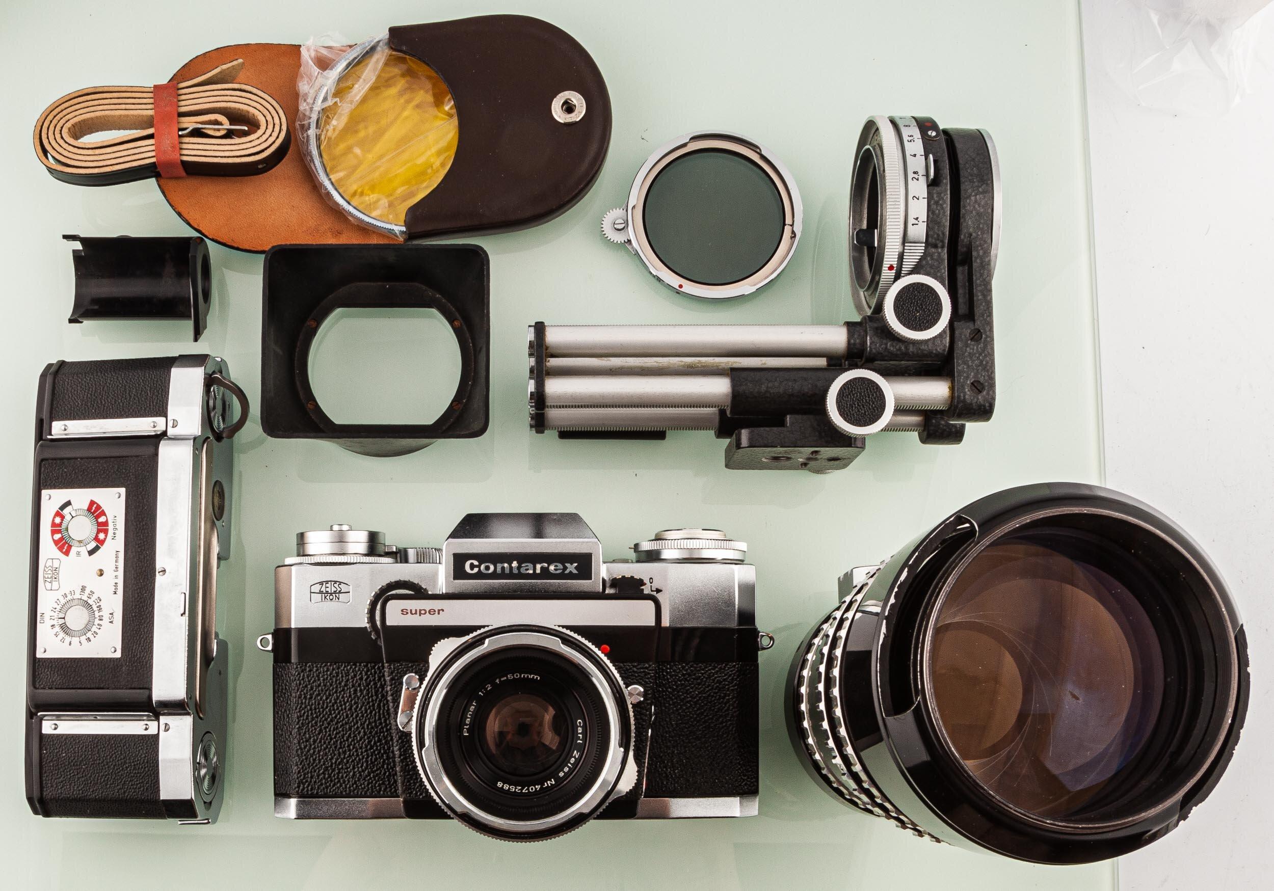 Contarex super Set Planar 50mm,Sonnar 250mm,Balgen,Datenrückwand